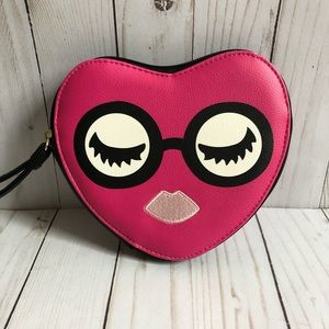 Luv Betsey hot pink heart wristlet NWOT